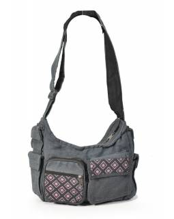 Taška přes rameno, šedá s potiskem, bavlna, popruh, kapsa, cca 37x25cm