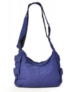 Taška přes rameno, modrá s potiskem, bavlna, popruh, kapsa, cca 37x25cm