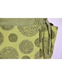 Taška přes rameno, zelená s potiskem, bavlna, popruh, kapsa, cca 40x36cm
