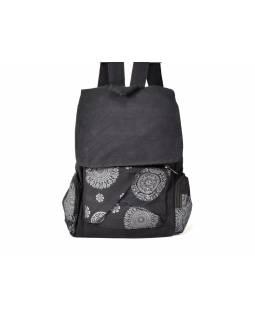 Černý batoh s potiskem mandaly, bavlna, 37x30cm