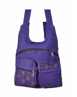 Fialový batoh s potiskem , bavlna, 33x31cm