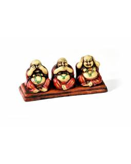Keramická ručně malovaná soška tři sedící buddhové, 16x7cm
