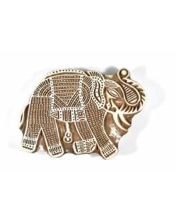 Velké dřevěné vyřezávané razítko ve tvaru slona, 20x14cm