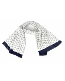 Šátek s kolečky, modrý lem, 180x70cm