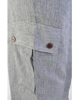 Šedivé unisex kalhoty s kapsami na boku, dlouhé, guma v pase
