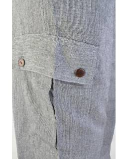 Kalhoty, unisex, dlouhé, šedé, kapsy na boku, guma v pase