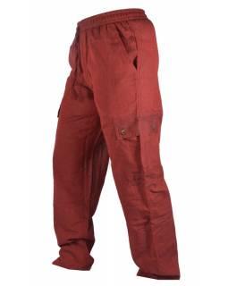 Vínové unisex kalhoty s kapsami, elastický pas