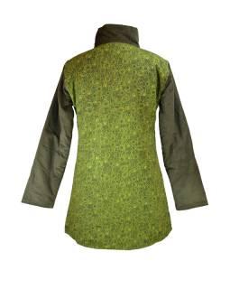 Khaki manžestrový kabátek, potisk a výšivka, zapínání na zip a kapsy