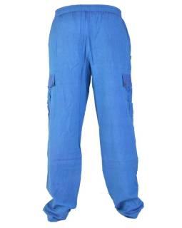 Modré unisex kalhoty s kapsami, elastický pas