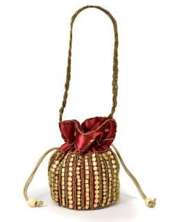 Malá vínová kabelka bohatě zdobená zlatými korálky, 19x19cm