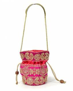Malá růžová kabelka bohatě zdobená zlatou výšivkou a flitry, 19x19cm