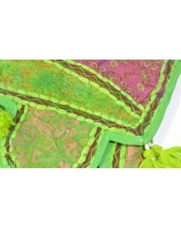 Závěs nad dveře, limetkově zelený, výšivka, třásně, 103x35cm