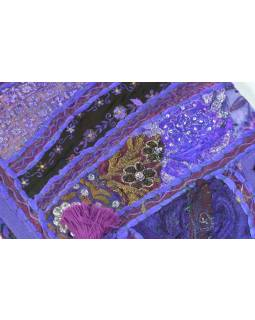 Závěs nad dveře, fialový, výšivka, třásně, 103x35cm