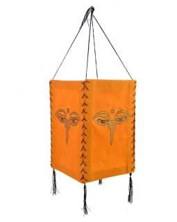 Stínidlo, čtyřboké, oranžové, zlatý tisk, buddhovi oči, 18x25cm