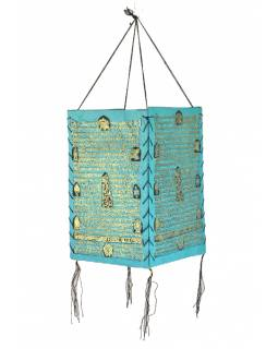 Stínidlo, čtyřboké, tyrkysové, zlatý tisk, písmo, 18x25cm