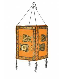 Stínidlo, čtyřboké, oranžové, zlatý tisk, 2 ryby, 18x25cm
