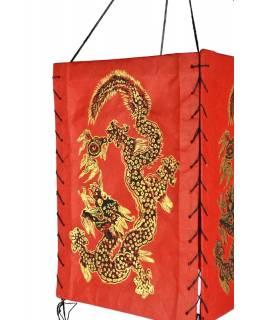 Čtyřboký lampion - stínidlo se zlatým potiskem draka, červená, 18x25cm