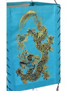 Čtyřboký lampion - stínidlo se zlatým potiskem draka, tyrkysová, 18x25cm