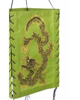 Čtyřboký lampion - stínidlo se zlatým potiskem draka, zelená, 18x25cm