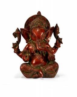 Mosazná soška Ganeši, červená patina, 16x21cm