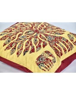 Povlak na polštář se slony, vínovo-béžový, ruční práce, stonewash, 40x40cm