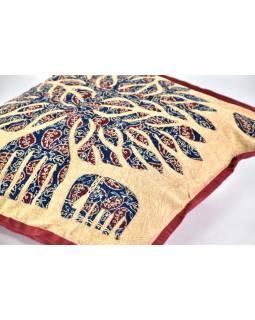 Povlak na polštář se slony, modro-béžový, ruční práce, stonewash, 40x40cm