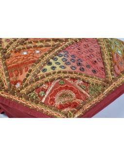 Povlak na polštář, ručně vyšívaný, multibarevný, 40x40cm