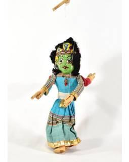 Ručně malovaná loutka, dvě tváře Ganéša/Bhairab, textil-dřevo, 45cm