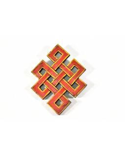 Dřevěná dekorace, červený Nekonečný uzel, malovaný, 20cm