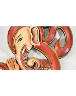 Ganesh Óm, ručně malované dřevo, 21x27cm