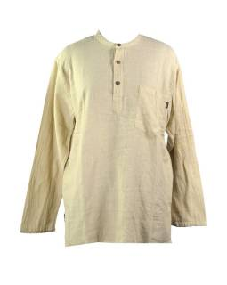 Béžová pánská košile-kurta s dlouhým rukávem a kapsičkou, měkčené provedení