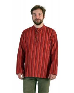 Pruhovaná pánská košile-kurta s dlouhým rukávem a kapsičkou, červená