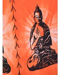 Oranžové látkové stínidlo-lampion s potiskem Buddhy, čtyřboké, 20x28cm
