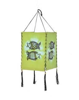 Zelené látkové stínidlo-lampion s potiskem ryb, čtyřboké, 20x28cm
