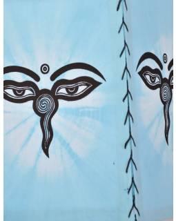 Modré látkové stínidlo-lampion s potiskem buddhových očí, čtyřboké, 20x28cm
