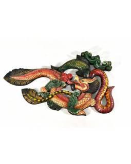 Tibetský drak, ryby a had, ručně vyřezávaný, 55x34cm