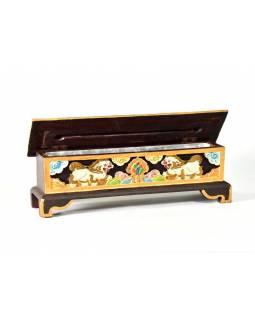Krabička na pálení vonných tyčinek, vyřezávaná, malovaná, 33x9x12cm
