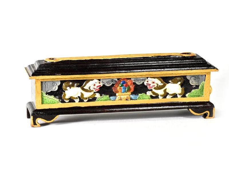 Krabička na pálení vonných tyčinek, vyřezávaná, malovaná, 35x9x12cm