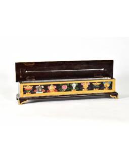 Krabička na pálení vonných tyčinek, vyřezávaná, malovaná, 31x6x8cm