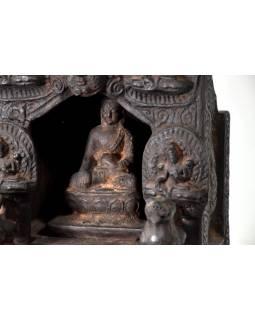 Dřevěný oltář, Buddha, antik úprava, 25x25x46cm