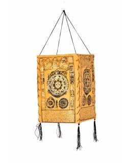 Stínidlo, čtyřboké, žluté, zlatý tisk,kolo života, 18x25cm