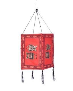 Stínidlo, čtyřboké, červené, zlatý tisk, 2 ryby, 18x25cm