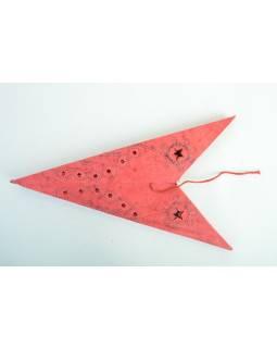 """Stínidlo hvězda, """"Chicken"""""""" 9 cípů, červená batika a výšivka, 60cm"""