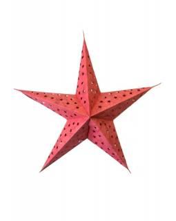 "Stínidlo hvězda, ""Star Star"", 5 cípů, vínová batika, děrovaná, 60cm"