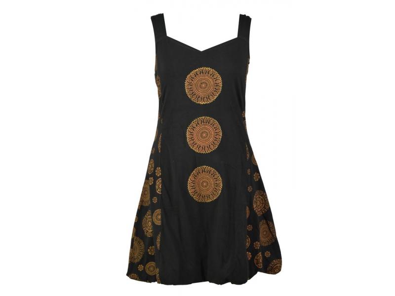 Krátké černé balonové šaty bez rukávu, Chakra design
