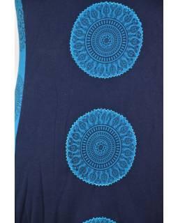 Krátké modro-tyrkysové balonové šaty bez rukávu, Chakra design