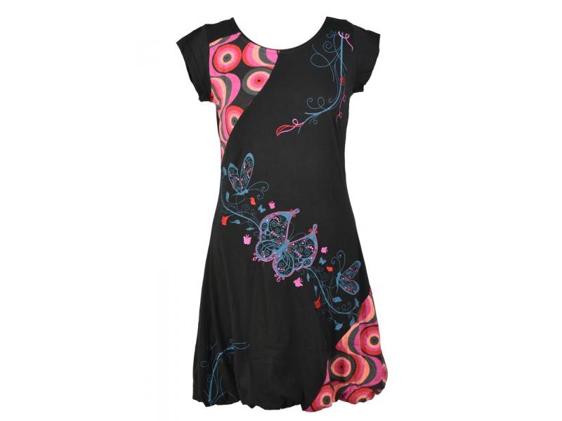 """Balonové šaty s krátkým rukávem, černo-růžové , """"Butterfly design"""", výšivka"""