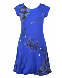 """Balonové šaty s krátkým rukávem, modré, """"Butterfly design"""", výšivka"""