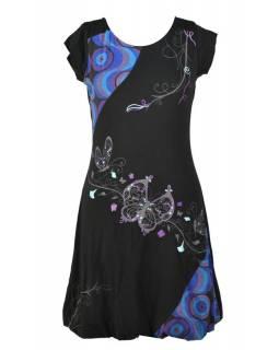 """Balonové šaty s krátkým rukávem, černo-modré, """"Butterfly design"""", výšivka"""