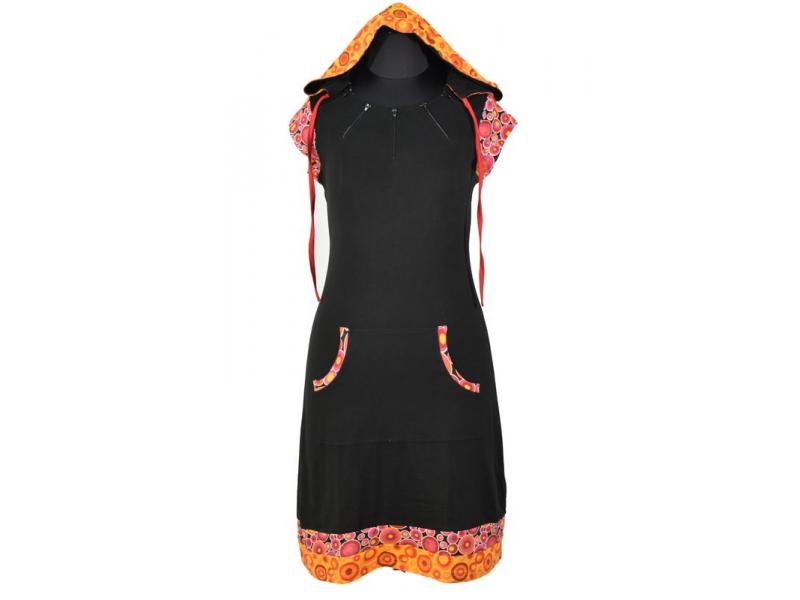Krátké černo-růžové šaty s kapucí a krátkým rukávem, bublinkový potisk, kapsy